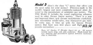Рис.12. Реклама двигателя Брауна образца 1940г. в модельном каталоге.